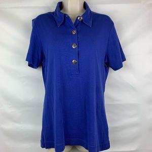 Tory Burch Pima Cotton polo shirt w/ logo buttons